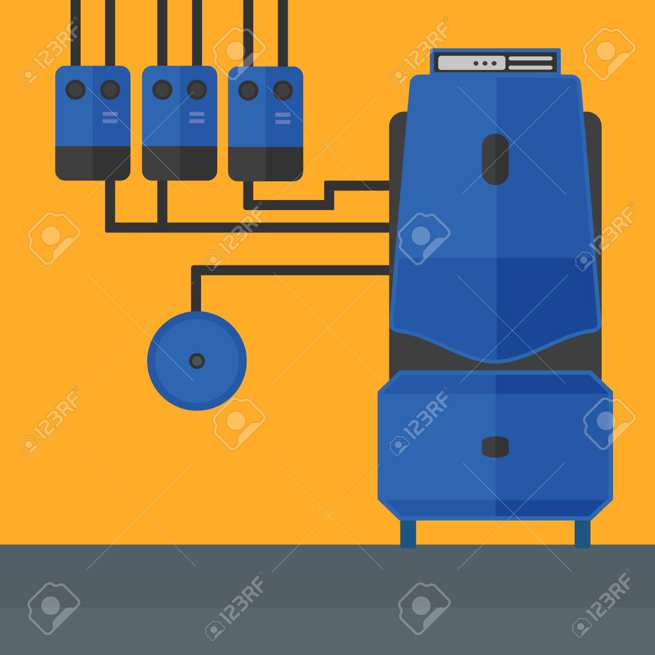 Background Of Domestic Household Boiler Room With Heating System.