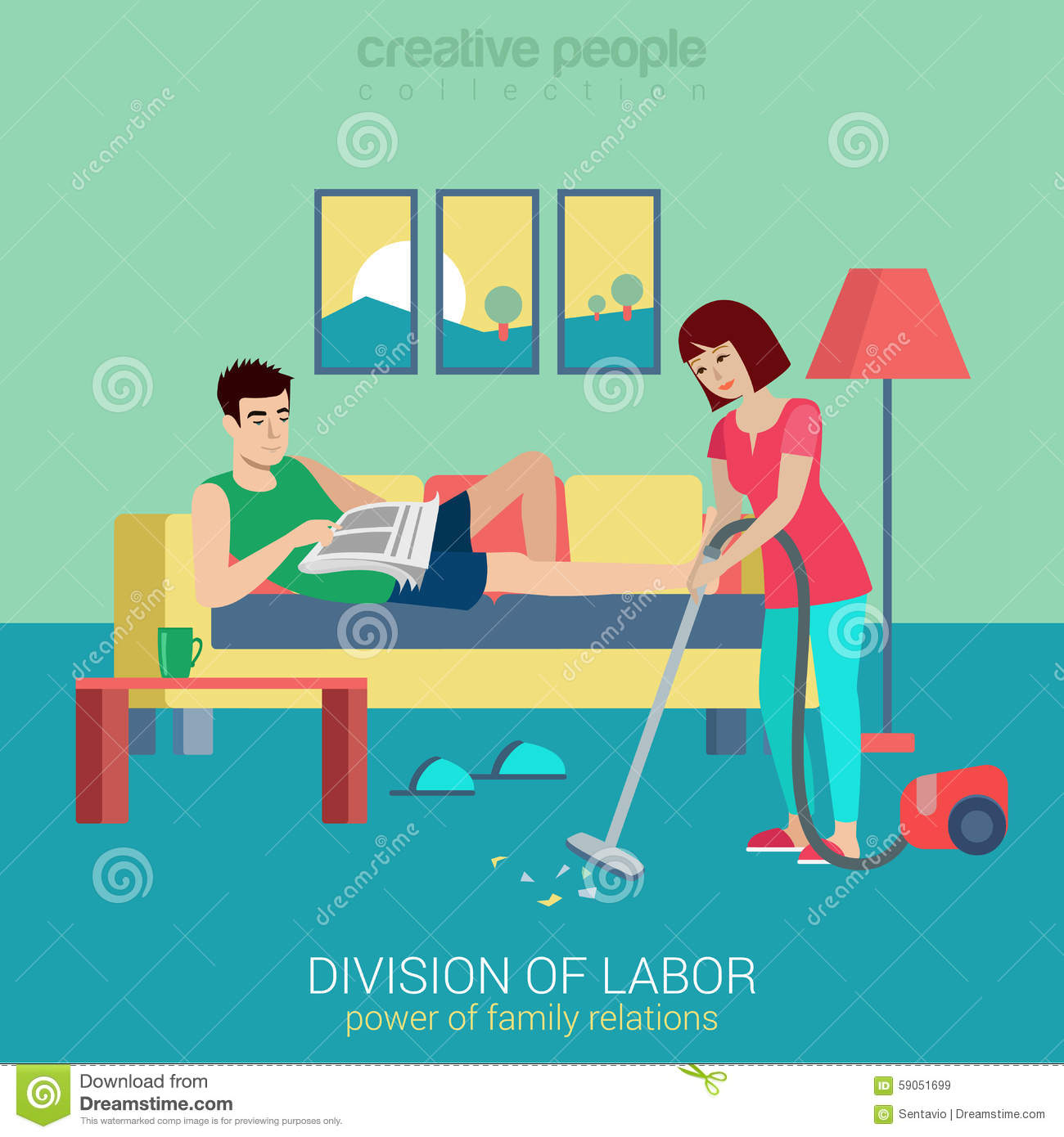 Household Flat Vector Family Concept: Woman Vacuum Clean Stock.