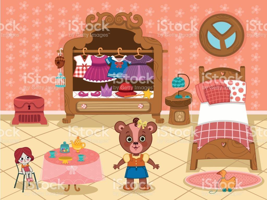 Girl Bedroom Clip Art stock vector art 645866984.