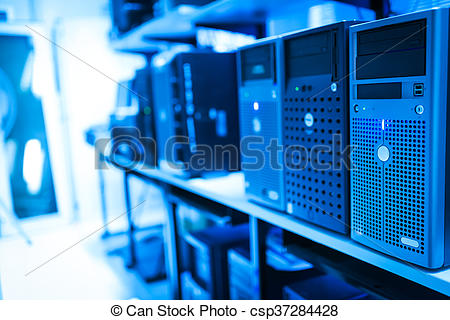 Stock Photo of Storage servers in data room Domestic Room.