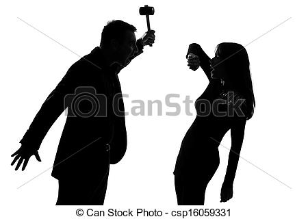 Stock Photos of one couple man holding hammer and woman domestic.