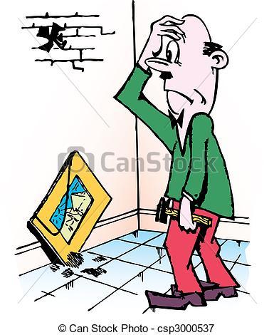 Vectors Illustration of Man domestic work.