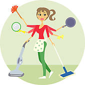 Clipart of Domestic work house home Woman Housewife vector.