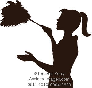 Clip Art Image of the Silhouette of a Maid Dusting With a Feather.