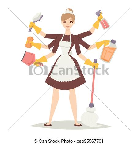 Woman domestic work house home woman housewife vector Vector Clip.