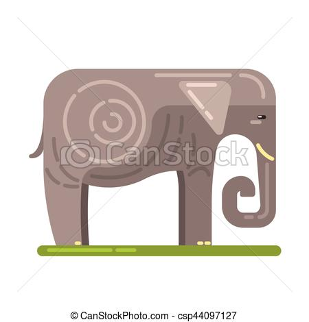 Vector Illustration of Domesticated Grey Elephant, Famous.
