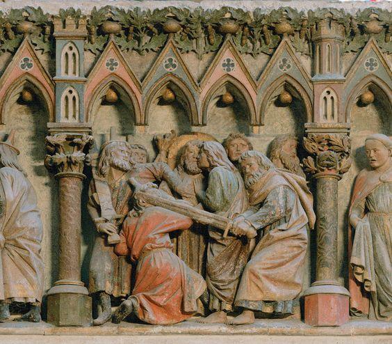 Master of Naumburg, Kiss of Judas, choir screen, 1255, stone.