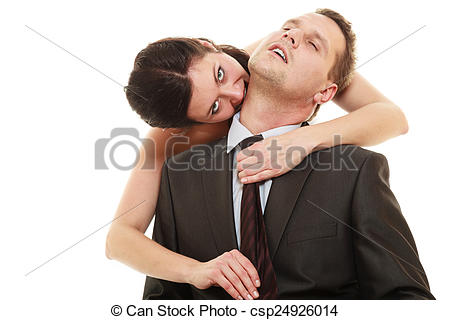 Stock Photography of Dominant bride with husband.