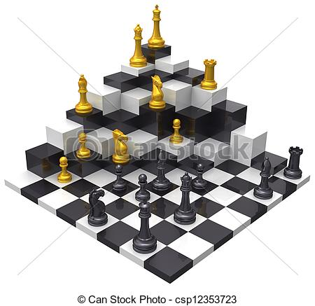 Clip Art of Chess game win 3D challenge.