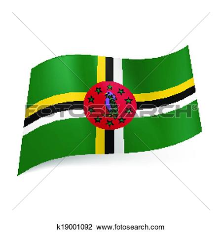 Clipart of State flag of Dominica k19001092.