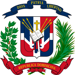 Coat of arms of the Dominican Republic.