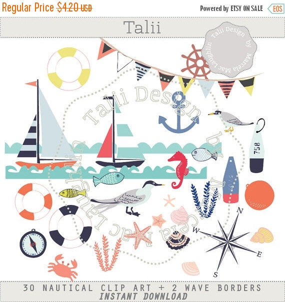 Nautical CLIP ART 30 clipart files 2 wave borders by HelloTalii.