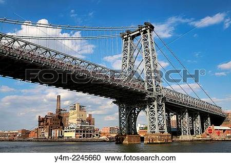 Stock Photography of The Williamsburg Bridge with the Domino Sugar.