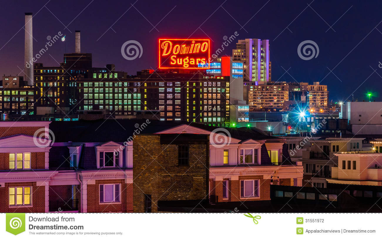 Domino Sugars Factory At Night From Federal Hill, Baltimore.