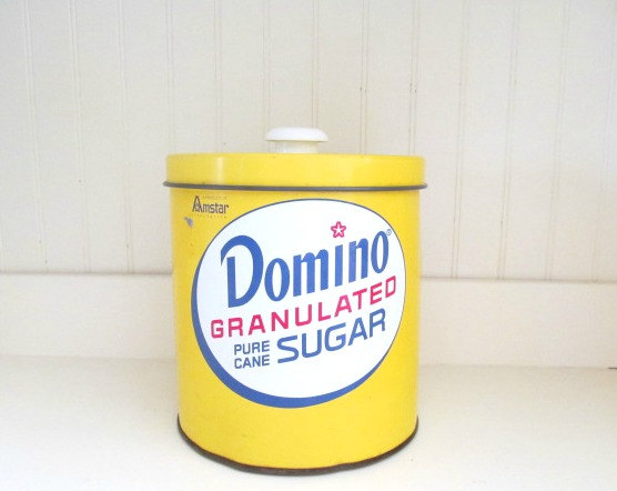 Vintage Domino Sugar Tin Canister Yellow by AnneGrahamVintage.