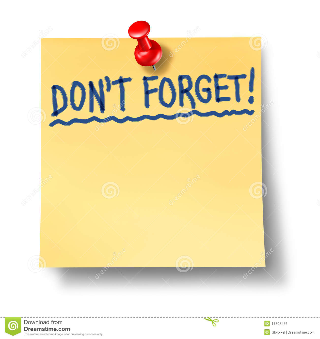 Do Not Forget Don't Reminder Alzheimers Stock Photo.