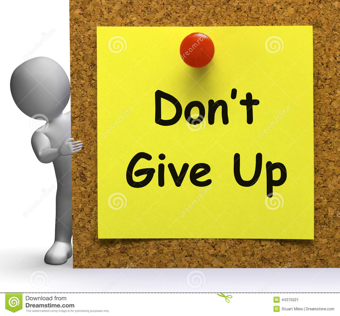 Don't Give Up Note Means Never Or Quit Stock Illustration.