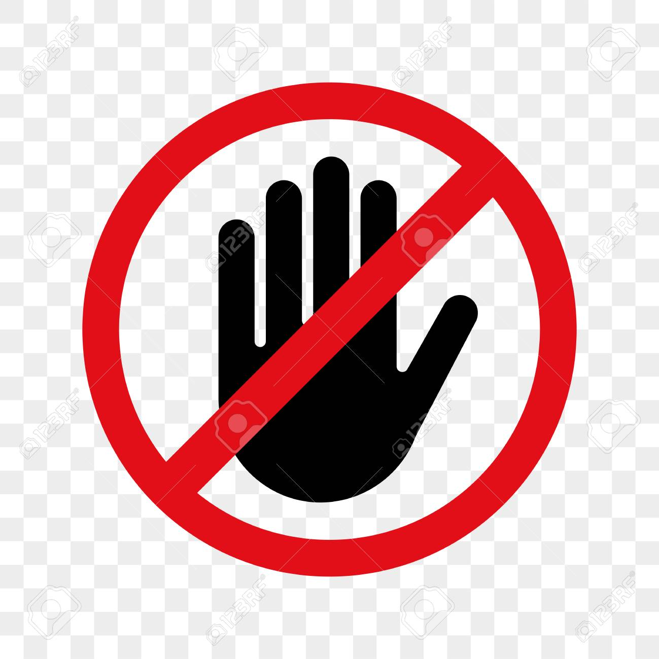 Stop hand vector warning icon for no entry or don't touch sign..