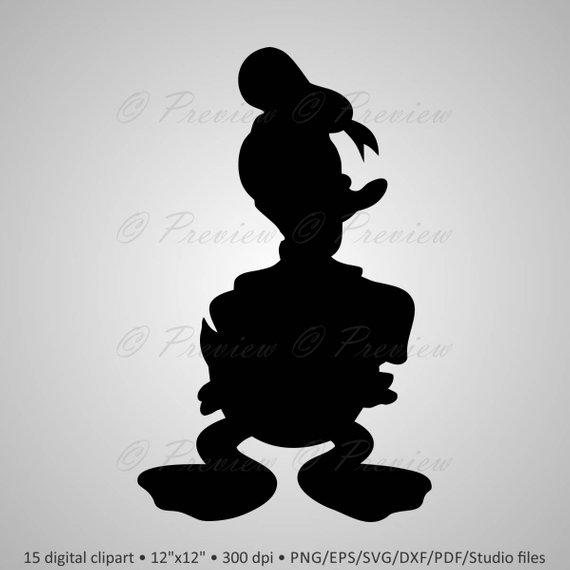 Buy 2 Get 1 Free! Digital Clipart Donald Duck Silhouettes cartoon.