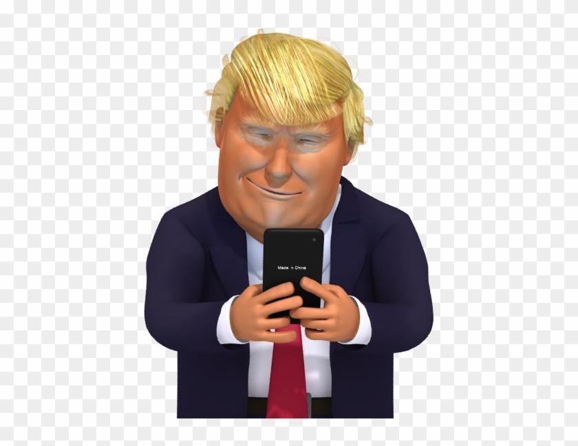 Donald Trump Cartoon On Phone, HD Png Download.