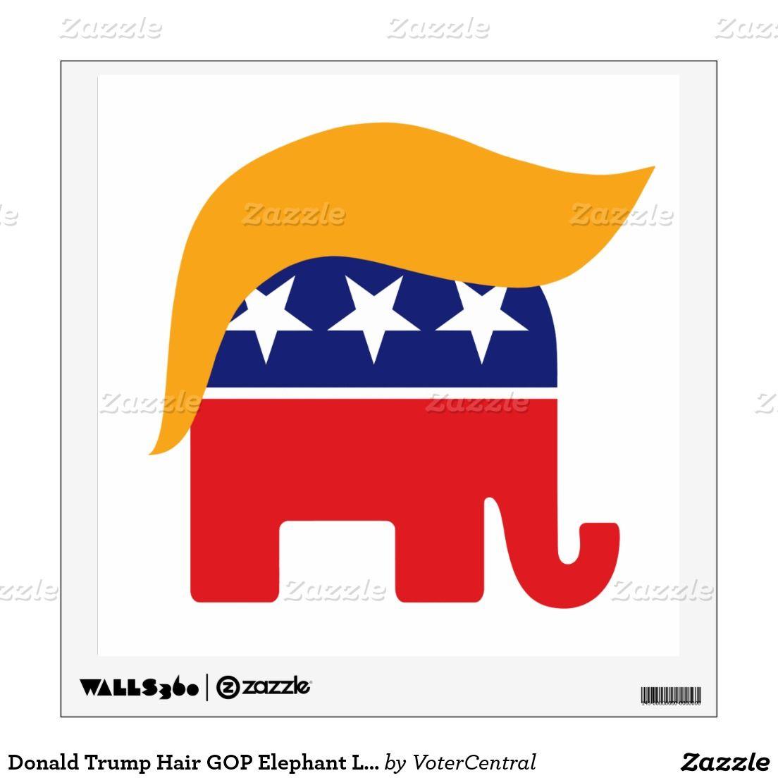 Donald Trump Hair GOP Elephant Logo Wall Decal.