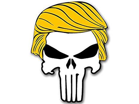 American Vinyl Punisher w/Trump Hair Shaped Sticker (Bumper pro Donald  Military GOP q).