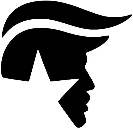 Donald Trump Face Hair Logo [Pick Any Color] Vinyl Transfer Sticker Decal  for Laptop/Car/Truck/Jeep/Window/Bumper (3in x 3in (Laptop Size), Black).
