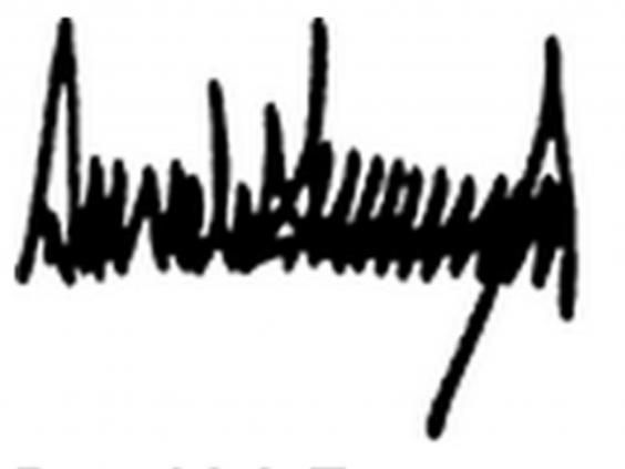 Trump\'s bizarre signature overshadows his first official act.