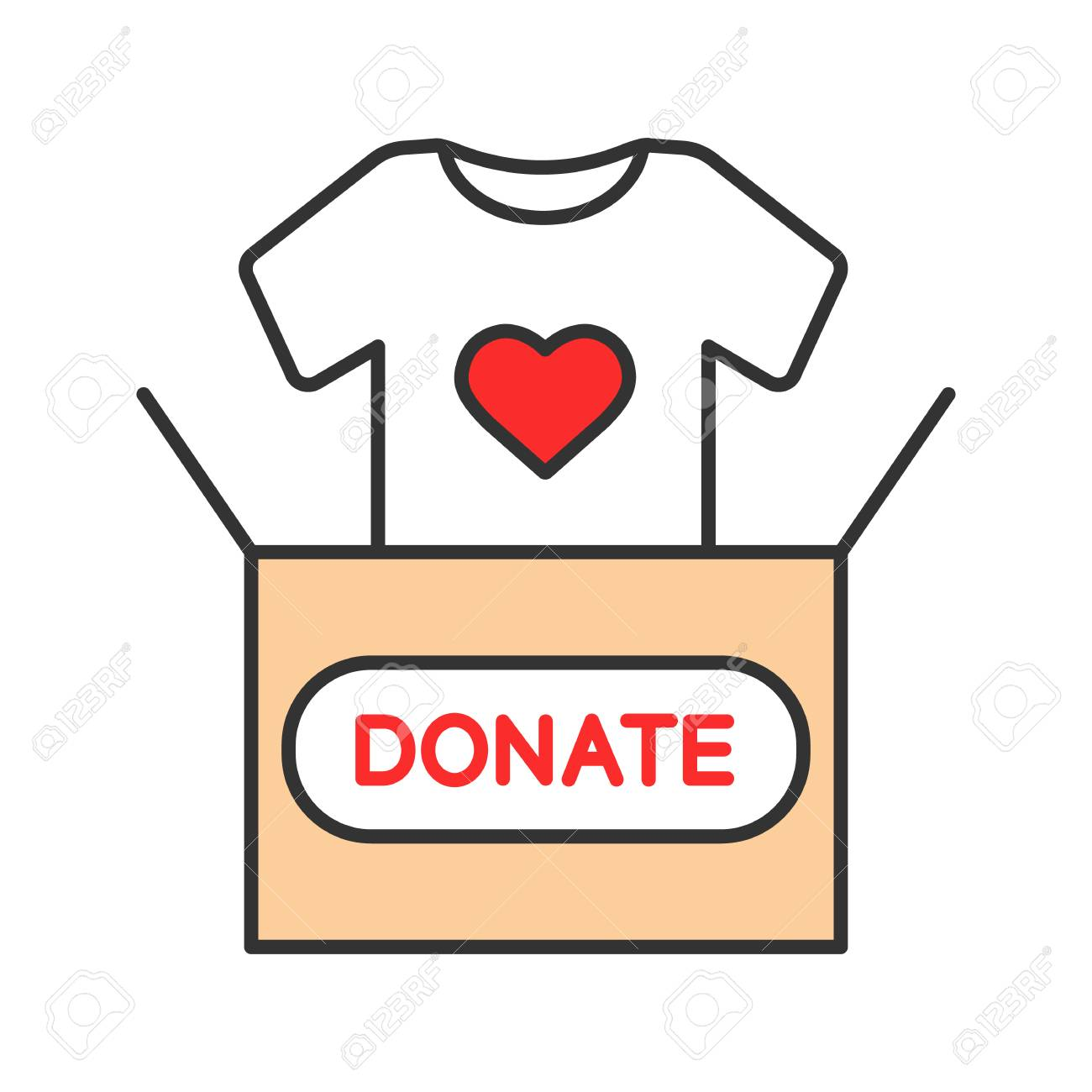 Clothes donating color icon. Donation box with t.