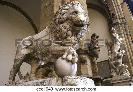 Stock Photograph of Italy, Florence, Loggia dei Lanzi, Donatello's.