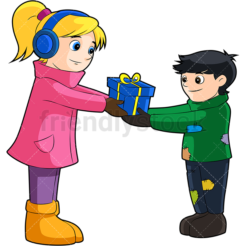 Download Free png Little Girl Donating Present To Poor Boy.