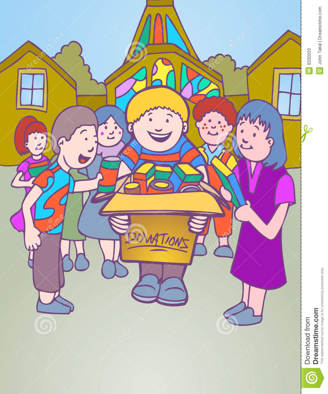 Children Collecting Donations For Church Stock Vector.