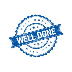 Well done grunge retro blue isolated stamp Clipart Image.