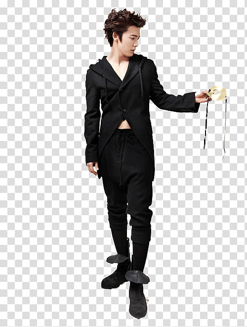Donghae, man holding masquerade transparent background PNG clipart.