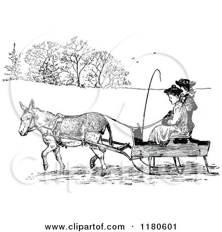 Clipart of a Retro Vintage Black and White Donkey Pulling People.