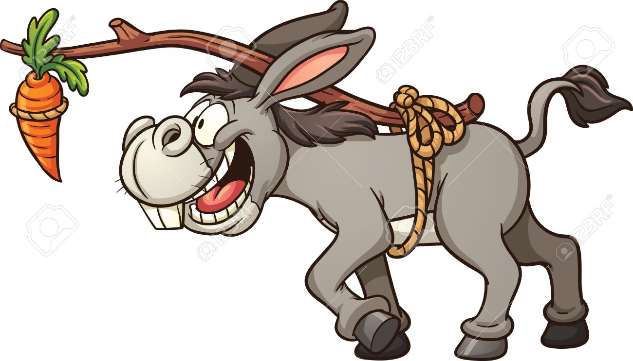 Donkey following a carrot tied to its back. Vector clip art illustration...
