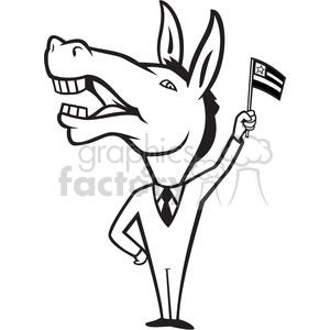black and white donkey democrat waving flag clipart. Royalty.
