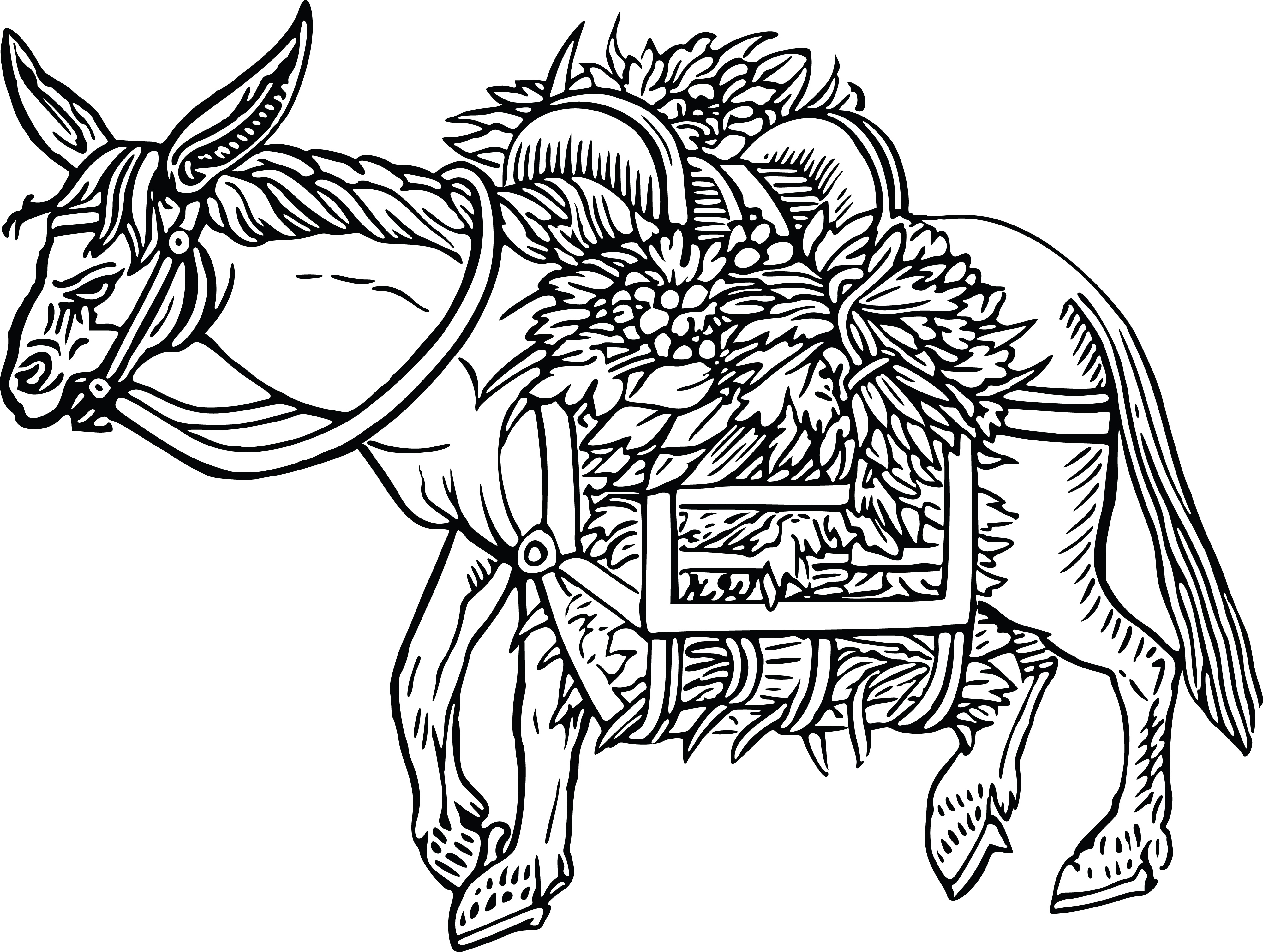Free Clipart Of A black and white donkey carrying flowers.