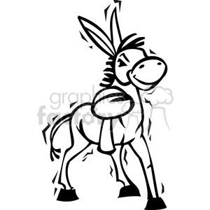 black and white Democrat cartoon donkey clipart. Royalty.