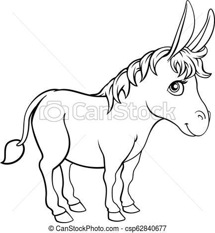 Donkey Animal Cartoon Character.