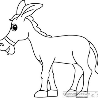 Animals Donkey Cartoon Style Clipart Black White Outline 914.