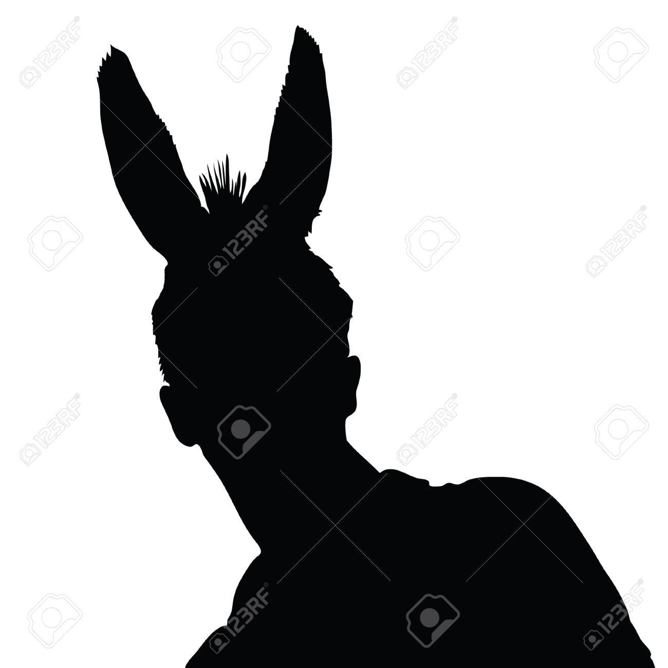 Man With Donkey Ears Vector Illustration Royalty Free Cliparts.