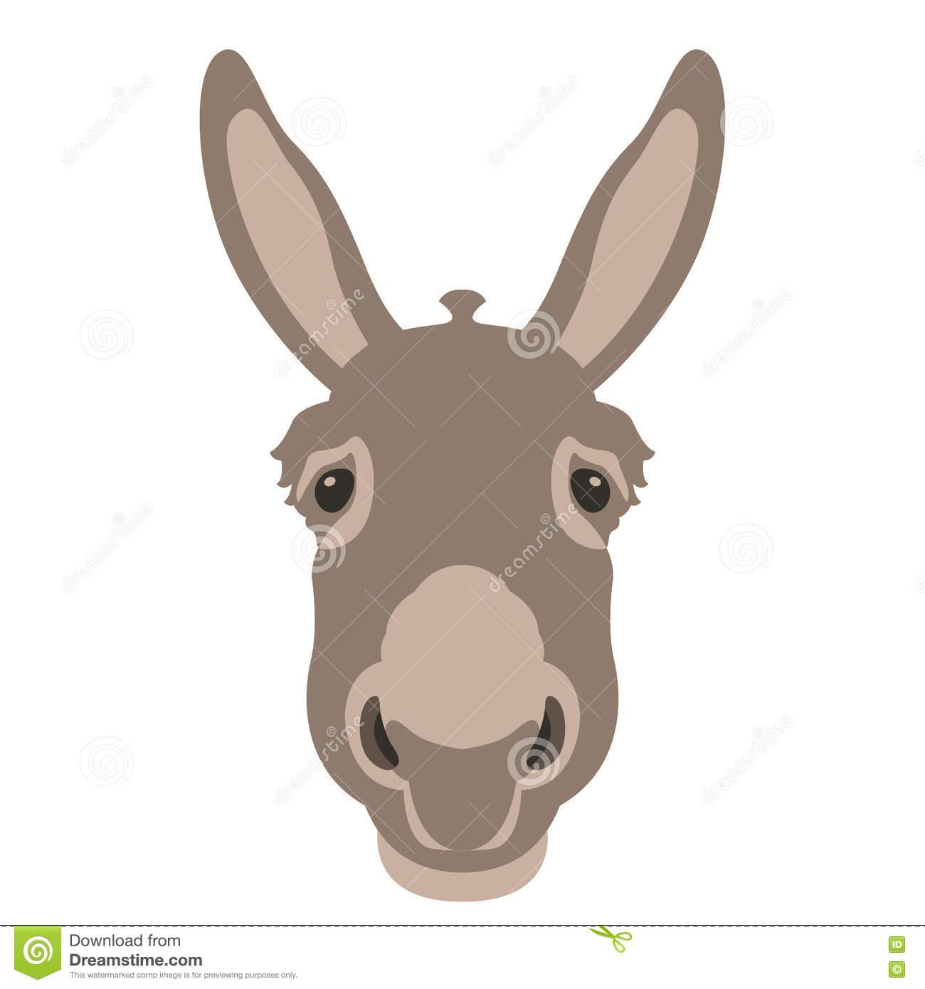 Donkey Head Face Vector Style Flat Stock Vector.
