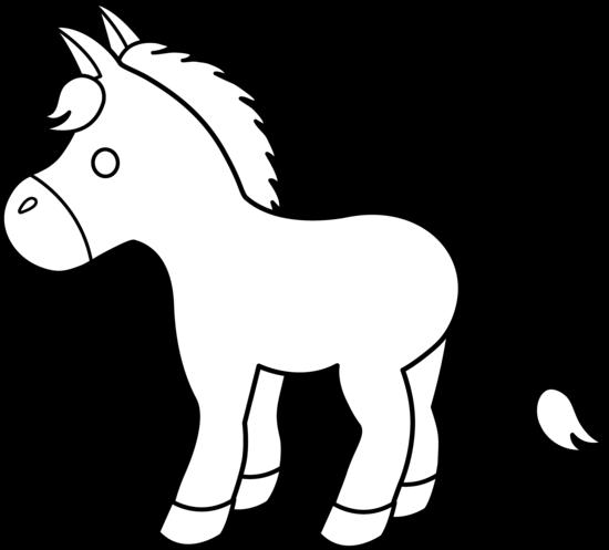Cute Donkey Line Art.
