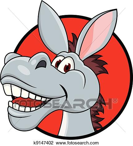 Donkey head cartoon Clipart.