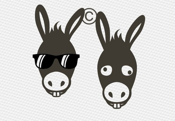 Donkey face svg, Farm animal svg, Sunglasses svg, Donkey silhouette.