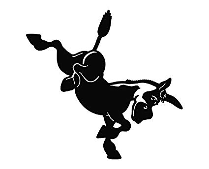 Donkey Kicking Die Cut Vinyl Decal Sticker.