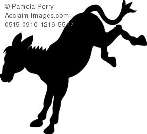Clip Art Illustration of a Donkey Silhouette.