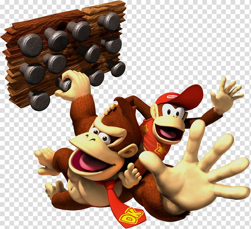 Two monkey climbing illustration, Donkey Kong Country 2: Diddys Kong.
