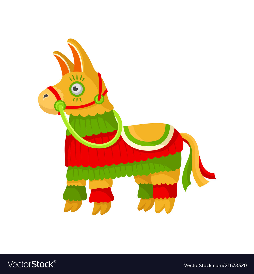 Bright striped colorful mexican pinata symbol of vector image.